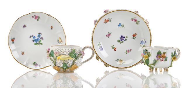 Two Meissen porcelain similar cups and saucers late 19th century