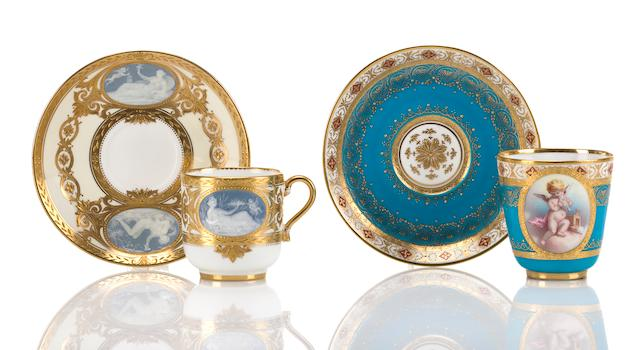 Two Mintons porcelain coffee cups and saucers circa 1900