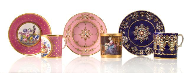 Three Sevres porcelain cups and saucers late 18th century and mid-19th century