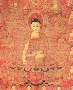 A red-ground thangka of Shakyamuni Buddha Tibet, 17th century