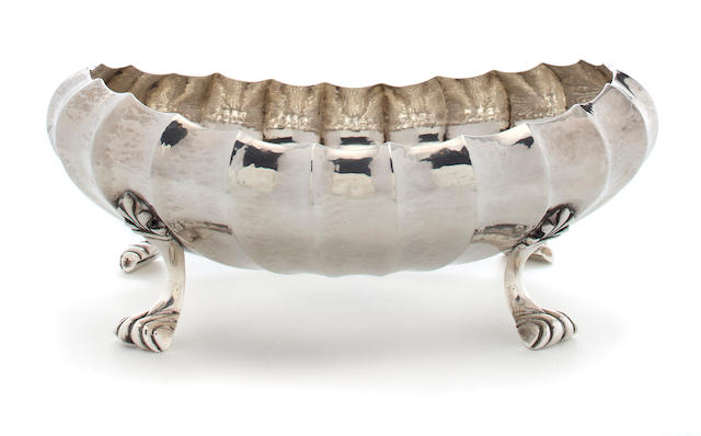 An Italian sterling silver lobed oval footed bowl Buccellati, mid-20th century