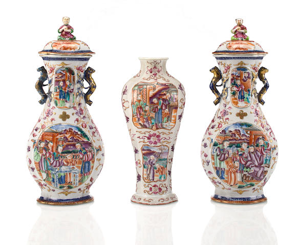 A group of three similar granulated-ground Chinese Export famille rose porcelain vases