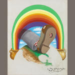 """Europe 72"" original artwork (Foot Through the Rainbow), accompanied by a proof sheet for the album."