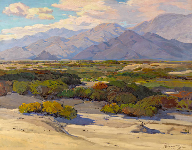 Fred Grayson Sayre (American, 1879-1939) Desert floor, Indio, California 28 x 36in