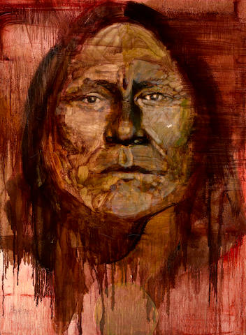 Neil Boyle (American, 1931-2006) Head of an Indian, thought to be Geronimo, 1974 40 X 30in