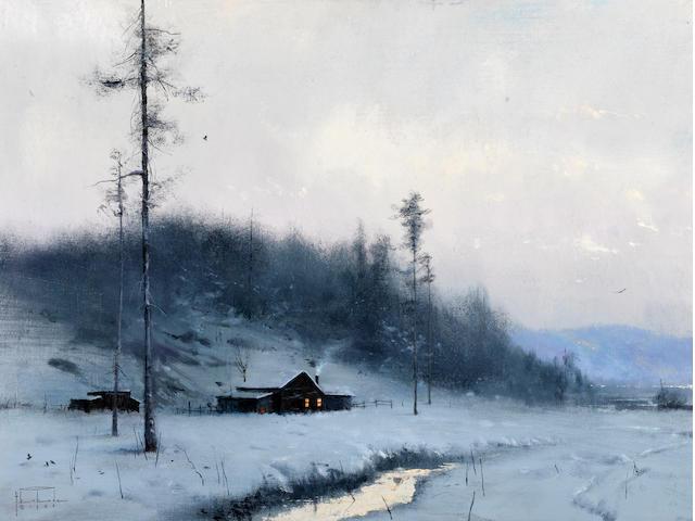 Thomas Kinkade (American, born 1958) In for the evening, 1982 18 x 24in