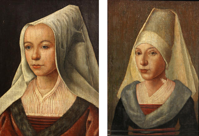 Flemish School, possibly 17th century A portrait of a young woman; and another portrait of a woman (a pair) 8 1/2 x 6in (21.6 x 15.3cm)