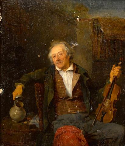 Ferdinand (II) de Braekeleer (Belgian, 1828-1857) The old violin player 15 1/2 x 13 1/4in (39.3 x 33.6cm)