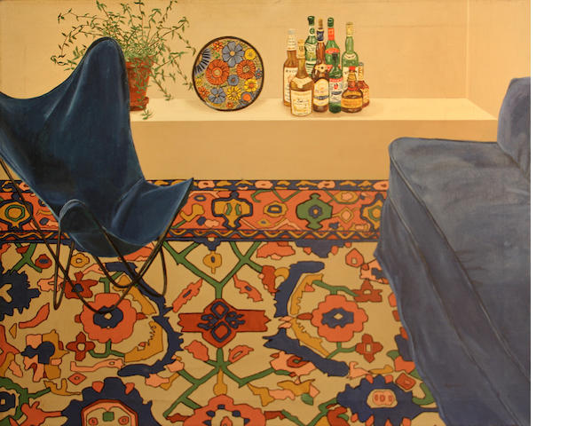 Patricia Lamerdin (American, 1926-2009) Still life with a chair and an oriental rug, c. 1980 24 x 30in