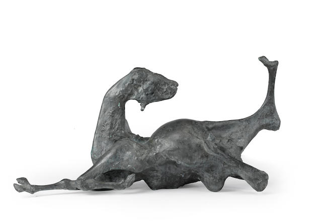 Jack Zajac, Bound Goat, bronze sculpture and two related posters