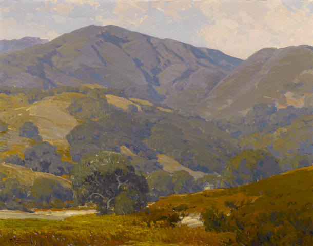 Hanson Puthuff (American, 1875-1972) Green California hills under cloudy skies 28 1/4 x 36in