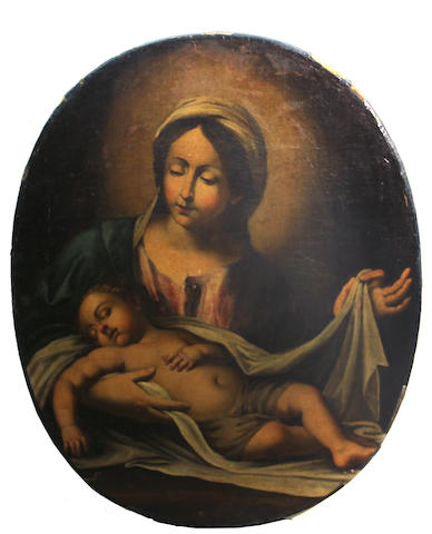 Italian School, late 18th Century Madonna with the sleeping Christ Child oval, 35 1/4 x 28in unframed