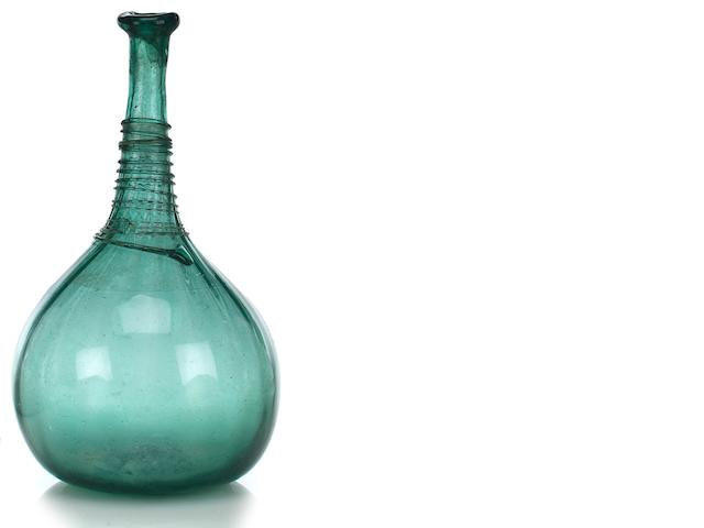 A green glass vase  North India, Mughal, 18th century