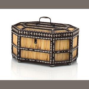 A quill and ebony jewelry box Galle, Sri Lanka, mid 19th century