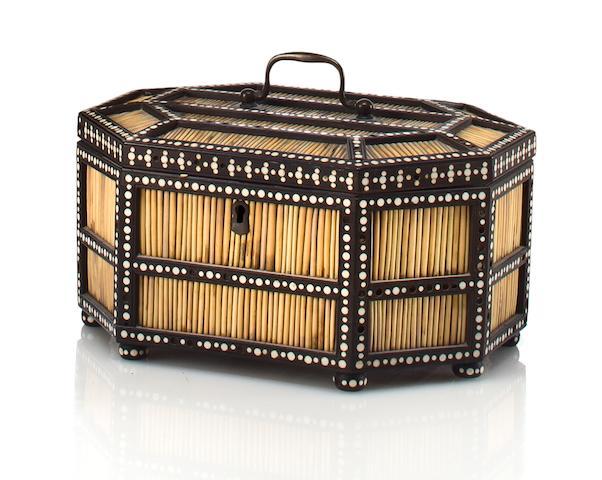A quill and ebony jewelry box Galle, Sri Lanka, mid 19th century