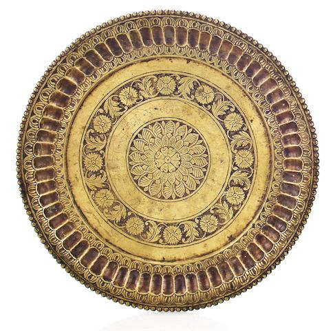 A brass pan tray Deccan, 18th century