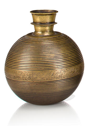 A brass hookah base Northern India or Lahore, 18th century