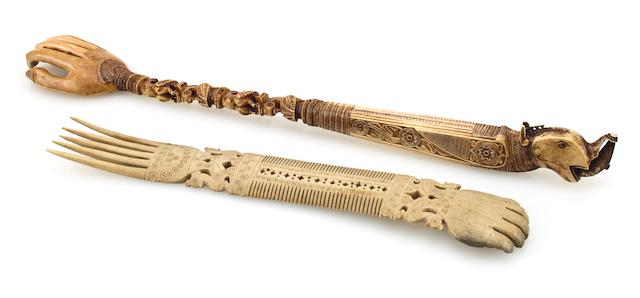 Two ivory backscratchers  South India 19th century