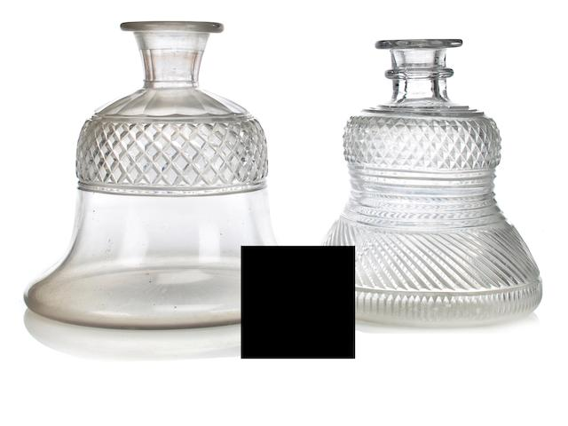 Two cut glass hookah bases England or Ireland, 19th century