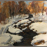 Ted Christensen (American, 1911-1998) Winter stream 33 3/4 x 36in