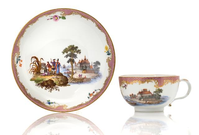 A Meissen porcelain cup and saucer 1763-94