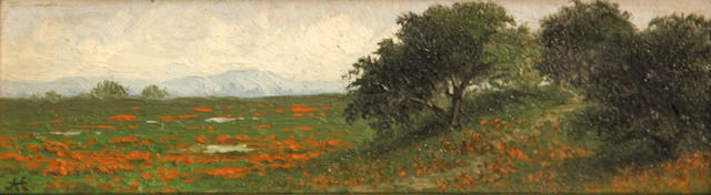 Annie Lyle Harmon (American, 1855-1930) California oaks and wildflowers 2 1/2 x 8 1/2in