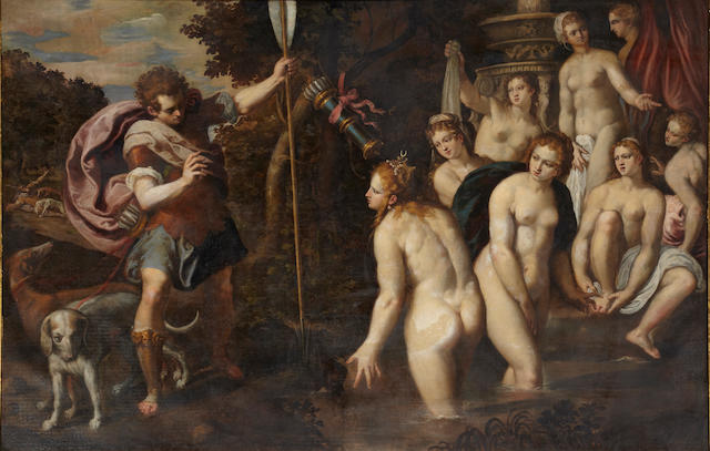 Attributed to Paolo Fiammingo dei Franceschi (Antwerp 1540-1596 Perugia) Diana surprised at her bath 71 x 108 1/2in (180.3 x 275.6cm)