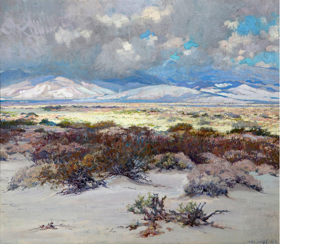 John Frost (American, 1890-1937) Blooming desert with billowing clouds, 1919 24 x 28 1/4in
