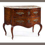 An Italian Rococo style inlaid walnut commodino <BR />late 19th century