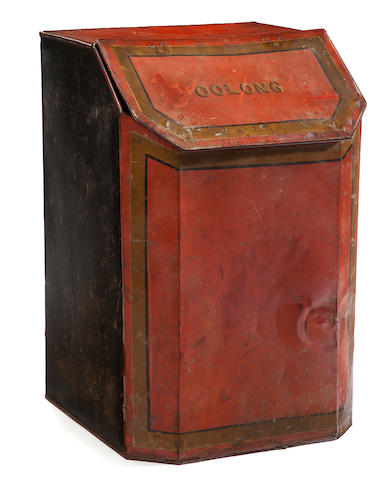 A large tôle tea canister <BR />late 19th century