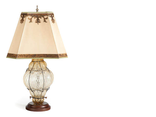 A Murano glass and wirework table lamp <BR />20th century