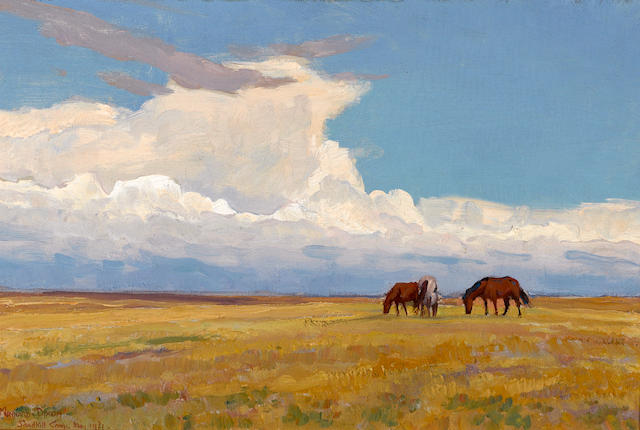Maynard Dixon (1875-1946) Clouds and prairie, 1921 12 x 18in