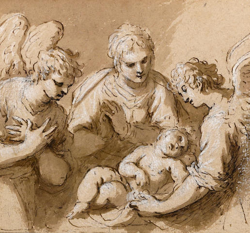 Jacopo Palma il Giovane (Venice circa 1548-1628) A mother and child with angels sight 5 1/4 x 5 1/2in (13.2 x 14cm)