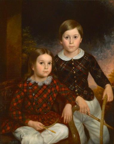 British School A portrait of two children in Scottish dress 36 x 29in