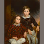 British School A portrait of two children in Scottish dress 36 x 29in (91.5 x 73.7cm)