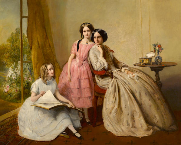 Attributed to Abraham Solomon (British, 1824-1862) A portrait of two girls with their governess 29 x 36 1/4in