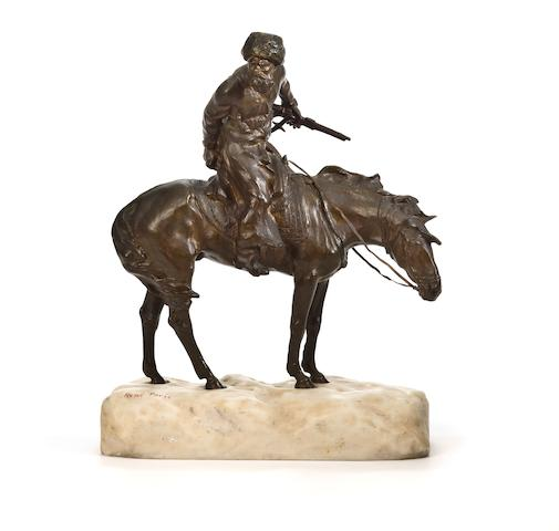 A patinated bronze and marble figure of a Cossack on horseback in the snow after a model by René Paris (French, 1881-1970) second quarter 20th century