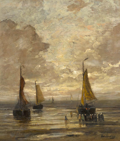 Hendrik Willem Mesdag (Dutch, 1831-1915) Bringing in the catch 22 3/4 x 19 1/2in (57.8 x 49.5cm)