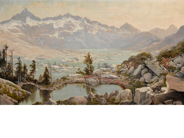 Jack Wisby (American, 1870-1940) Mountain lake, thought to be Yosemite Valley 16 1/4 x 28 1/4in