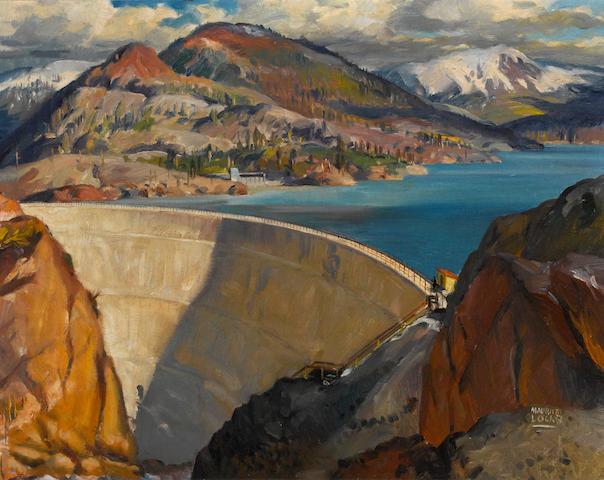 Maurice Logan (American, 1886-1977) Lake Spaulding dam 22 1/2 x 28 1/4in
