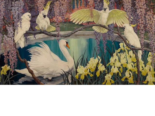 Jessie Arms Botke (American, 1883-1971) A swan and cockatoos surrounded by irises and wisteria, 1927 26 x 47 1/4in