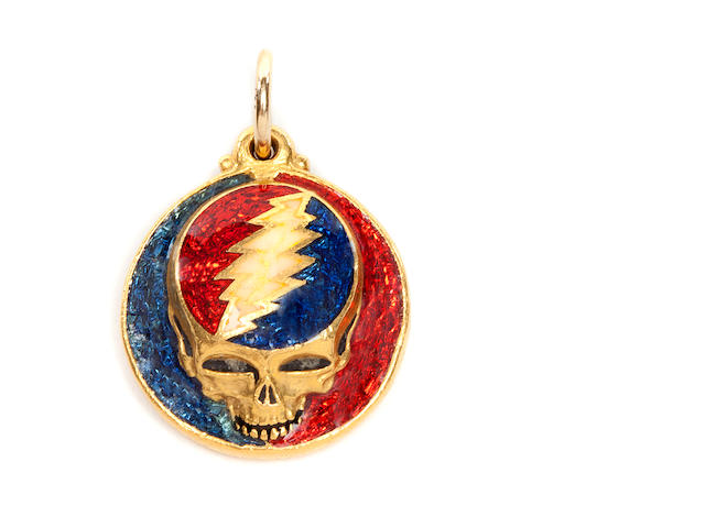 "A gold ""Steal Your Face Bear"" pendant ca.1979, First Edition, un-numbered."