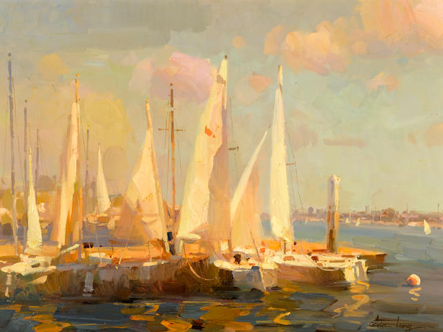 Calvin Liang (Chinese/American, born 1960) Sailboats in Newport Beach 18 x 24in