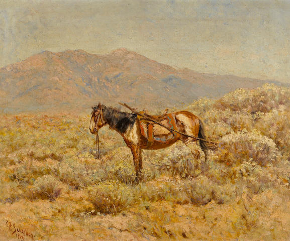 Frank Paul Sauerwein (American, 1871-1910) Indian horse with a travois, 1906 14 1/4 x 17 1/4in
