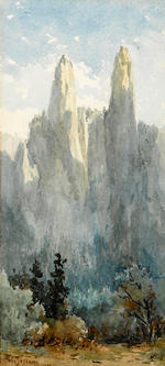 Christian Jorgensen (American, 1860-1935) Yosemite Falls, 1900; Half Dome, 1900; Cathedral Spires, 1900 (group of three) first and second 9 1/4 x 4 3/4in; third sight: 10 1/4 x 4 3/4in