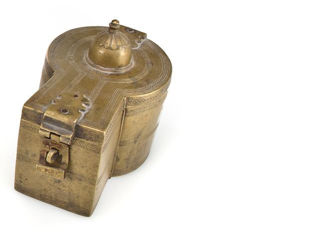 A brass ritual lingham box  North India, 19th century