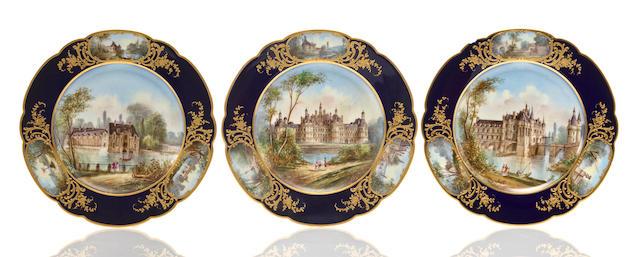 Six Sevres style porcelain cabinet plates