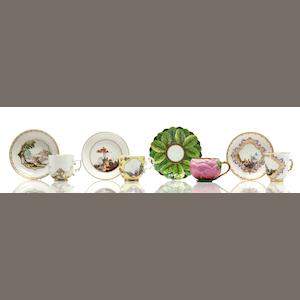 Four Meissen porcelain cups and saucers