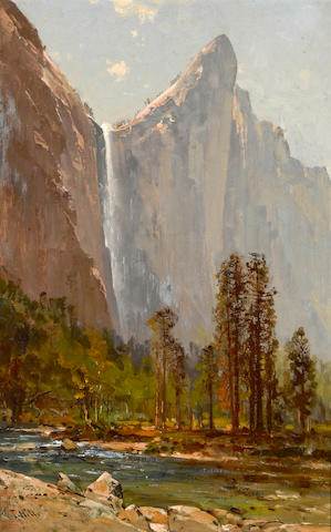 Thomas Hill (American, 1829-1908) Bridalveil Fall and Leaning Tower 22 x 14in