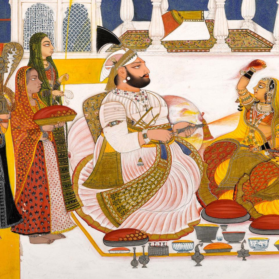 Rawat Gokal Das celebrating holi in the zenana Signed Bagta, Devgarh, dated 1808